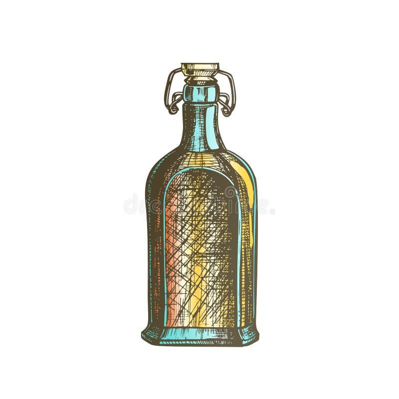 Kolor Rysująca Pusta Whisky butelka Z trzepnięcie nakrętki wektorem ilustracji