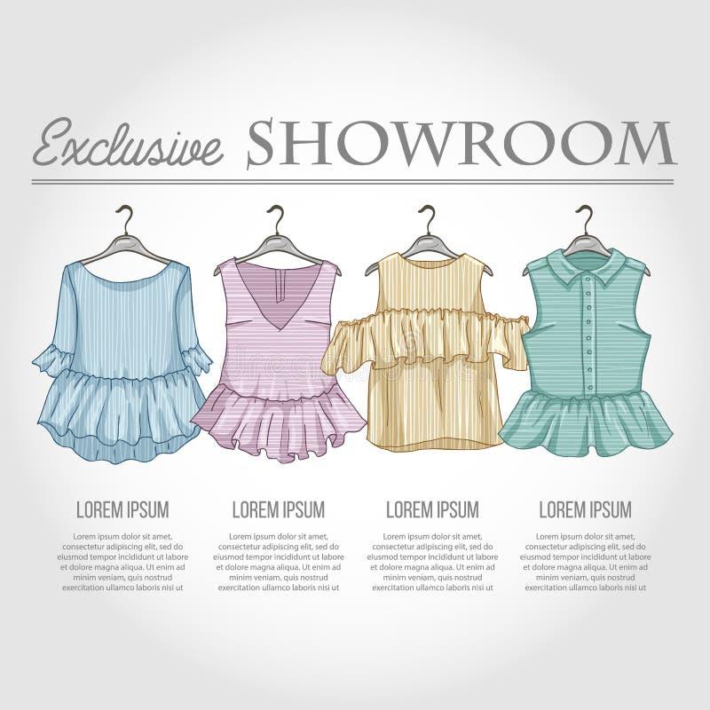 Kolor sala wystawowa ustawiająca kobiet przypadkowi ubrania royalty ilustracja