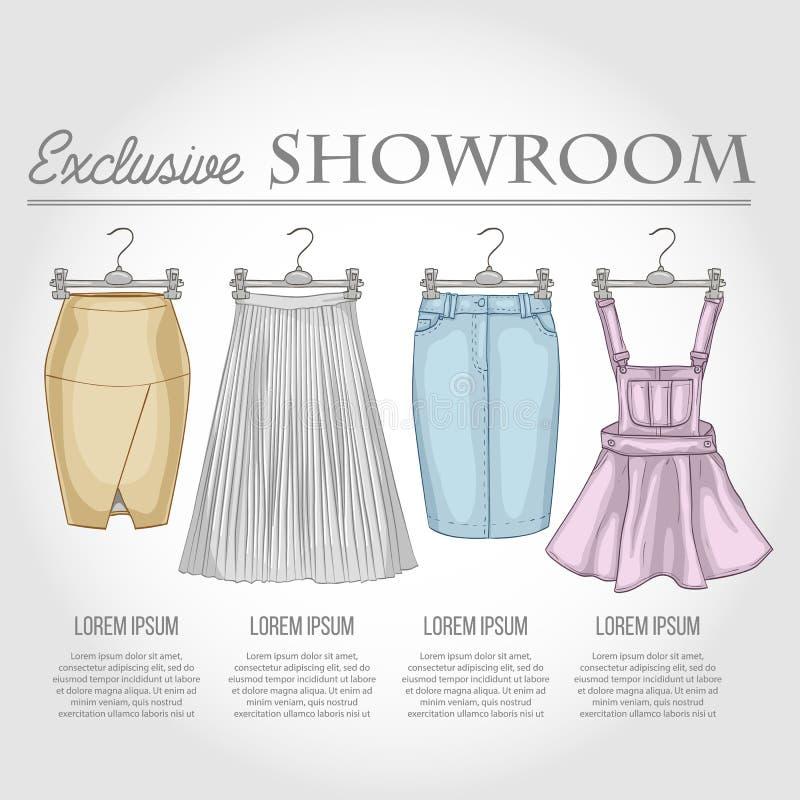 Kolor sala wystawowa ustawiająca kobiet przypadkowi ubrania ilustracja wektor
