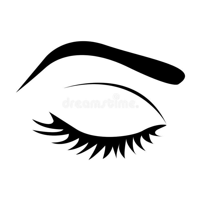 kolor sylwetka z żeńskim okiem zamykającym i brwią royalty ilustracja