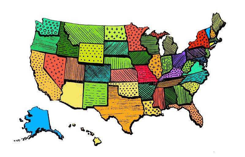 Kolor sztuki mapa Stany Zjednoczone Śmieszny Ameryka ilustracja wektor