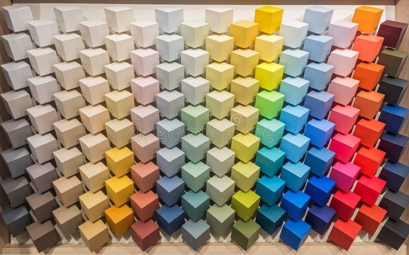 kolor tła abstrakcyjna projektu paleta Pokaz z barwionymi farb pantones dla wewnętrznej dekoracji Stubarwni kwadratowi sześcianów ilustracji