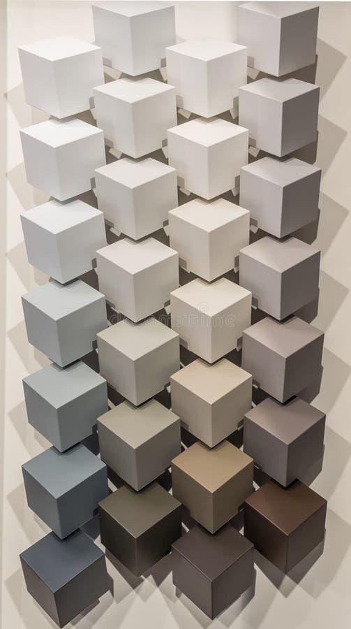 kolor tła abstrakcyjna projektu paleta Pokaz z barwionymi farb pantones dla wewnętrznej dekoracji Stubarwni kwadratowi sześcianów ilustracja wektor