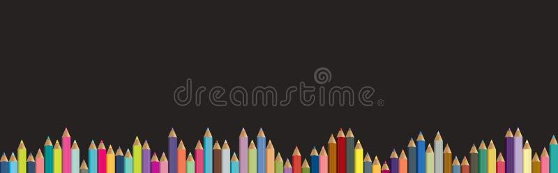 kolor tła asortymentu kolorowe ołówki Czarna deska z kredkami ilustracja wektor