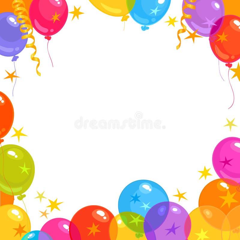 kolor tła wakacje czerwonego żółty Pusta przestrzeń dla teksta obramiającego jaskrawymi koloru latania balonami, gwiazdowi confet ilustracji