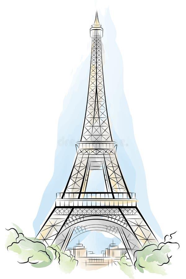 kolor target1860_1_ Eiffel wierza France Paris ilustracji