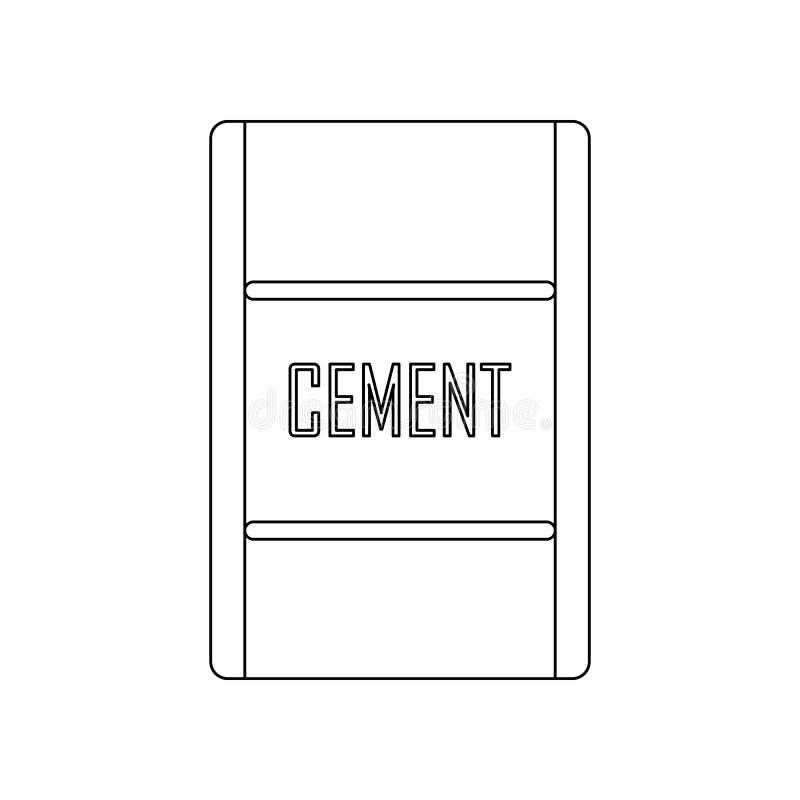 kolor torba cementowa ikona Element bud?w narz?dzia dla mobilnego poj?cia i sieci apps ikony Kontur, cienieje kreskow? ikon? dla  ilustracji