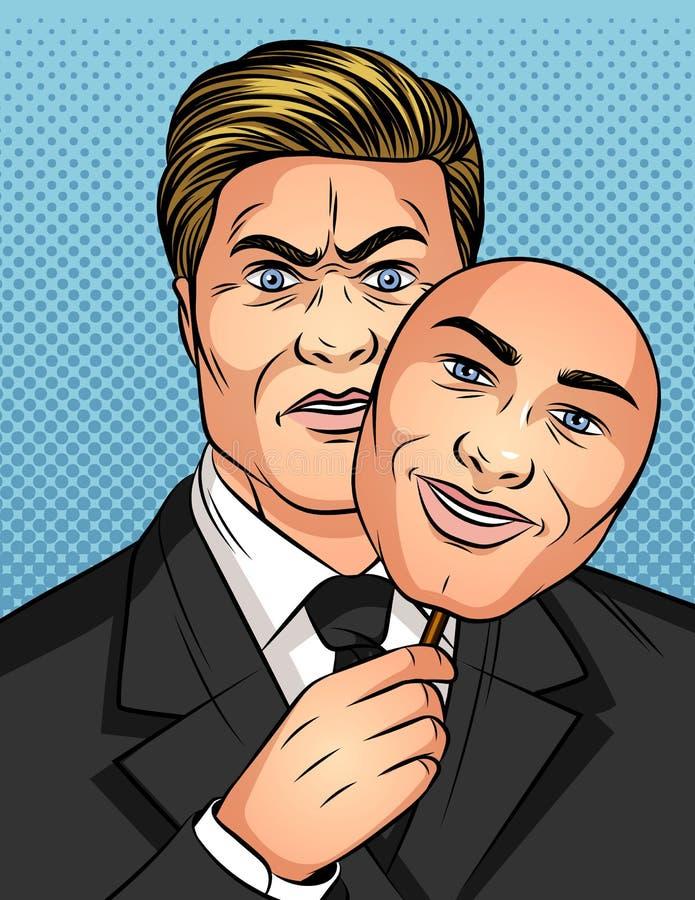 Kolor wektorowa ilustracja w stylu komicznej wystrzał sztuki Mężczyzna trzyma maskę w jego rękach Biznesmen chuje jego emocje Męż royalty ilustracja