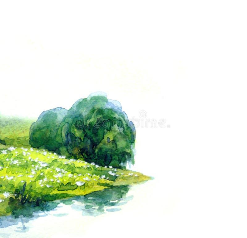 Kolor wodny w poziomie Rzeka na polu letnim obrazy stock