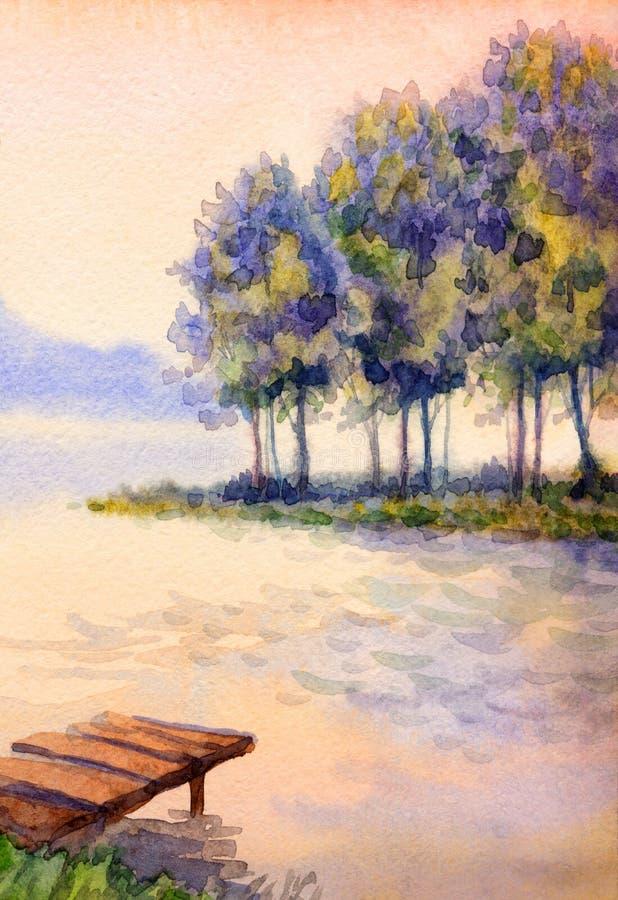Kolor wodny w poziomie Zachód słońca nad jeziorem obrazy royalty free