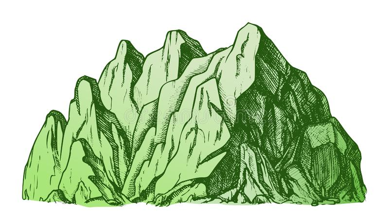 Kolor wysokiej góry Crag krajobrazu ręka Rysujący wektor ilustracja wektor