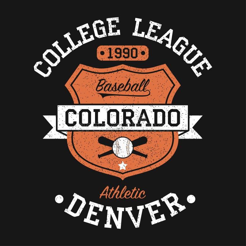 Kolorado, Denwerska rocznika baseballa grafika dla koszulki Oryginałów ubrań projekt z grunge i osłoną Odzieży typografia wektor ilustracji