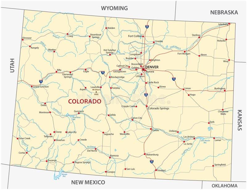Kolorado drogowa mapa ilustracja wektor