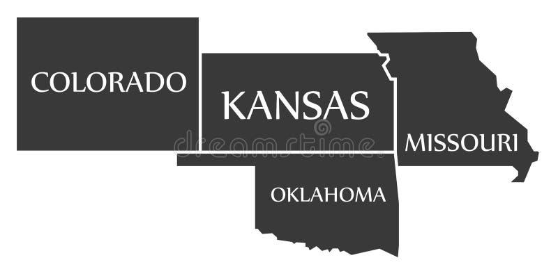 Kolorado, Kansas, Oklahoma, Missouri mapa przylepiający etykietkę czerń - - obraz stock