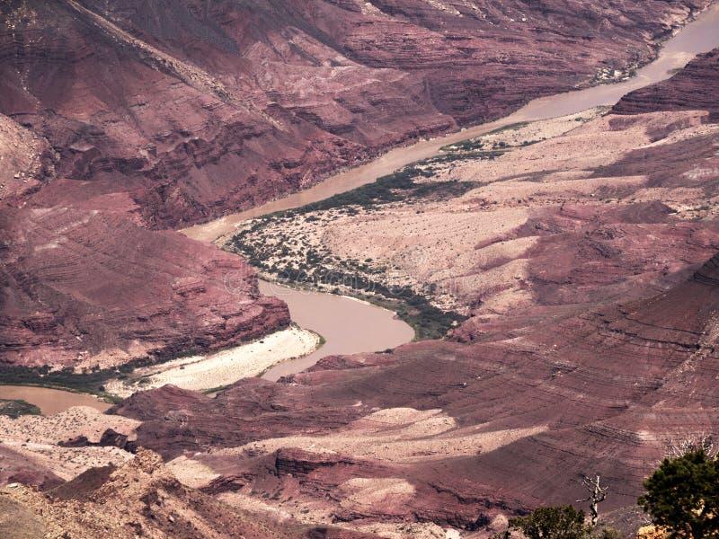 Kolorado rzeka though Uroczystego jaru park narodowy od Południowego obręcza w Arizona fotografia royalty free
