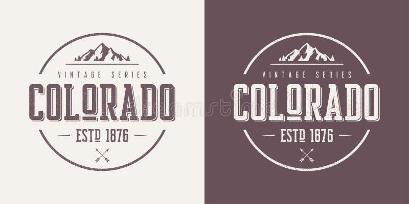 Kolorado stan textured rocznik odzieży i koszulki wektorowego desig royalty ilustracja