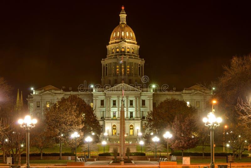 Kolorado stanu Capitol przy nocą fotografia royalty free