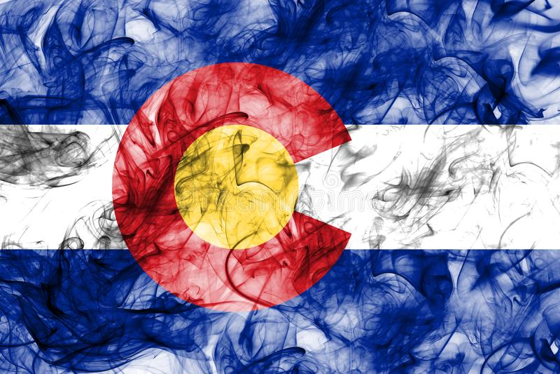 Kolorado stanu dymu flaga, Stany Zjednoczone Ameryka fotografia stock