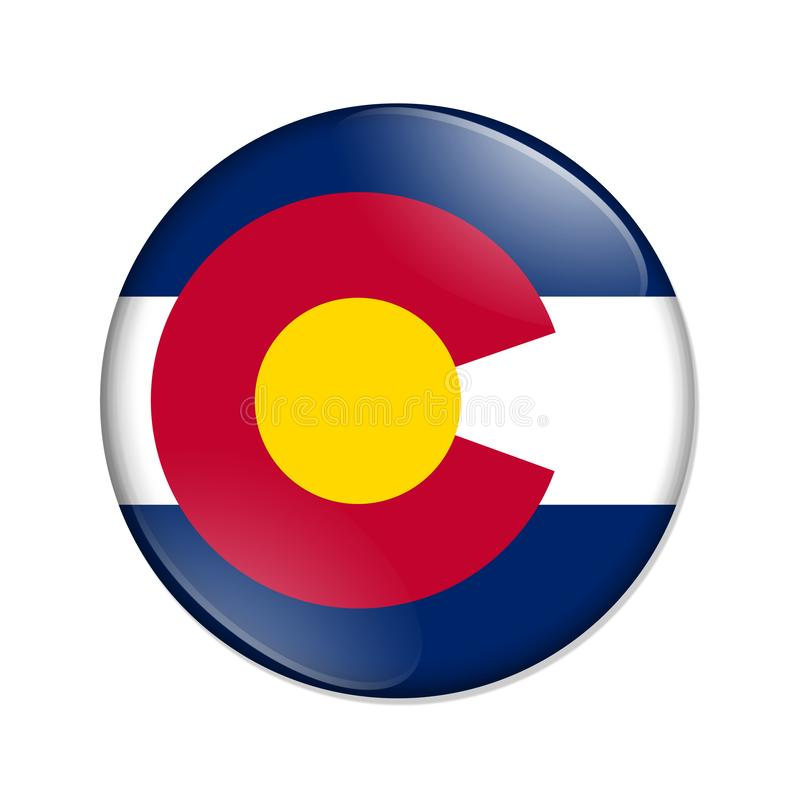 Kolorado stanu flagi odznaki guzik royalty ilustracja