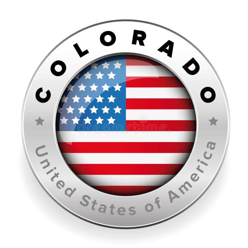 Kolorado Usa flaga odznaki guzik royalty ilustracja