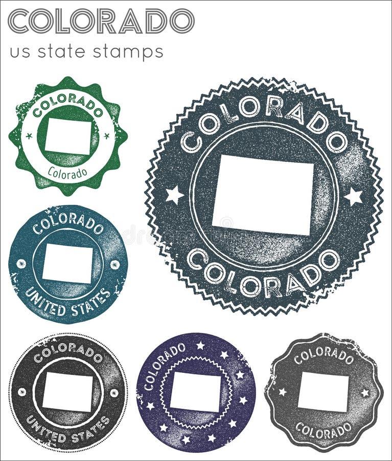 Kolorado znaczków kolekcja royalty ilustracja