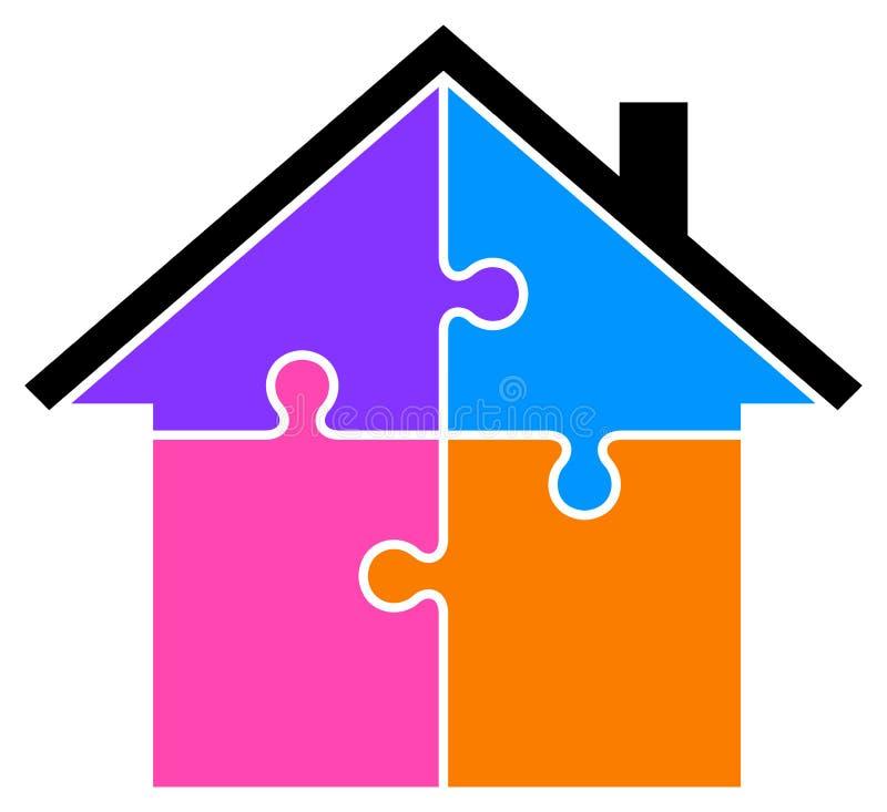 Kolorowa łamigłówka domu klamerki sztuka ilustracji