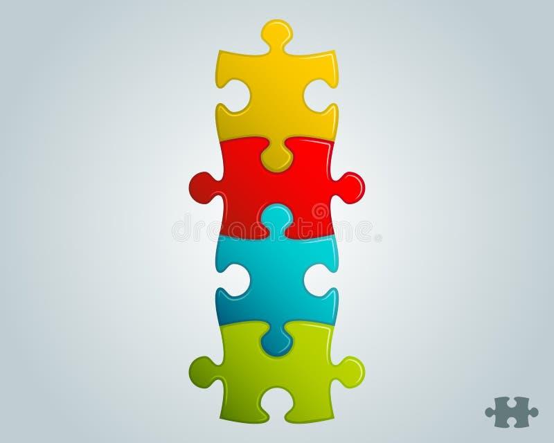 Kolorowa łamigłówka składa pionowo strukturę ilustracja wektor