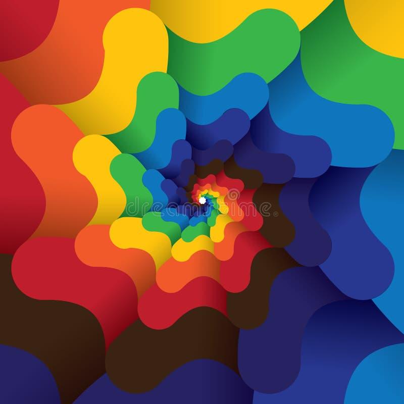 Kolorowa abstrakcjonistyczna nieskończona spirala jaskrawy koloru tło royalty ilustracja