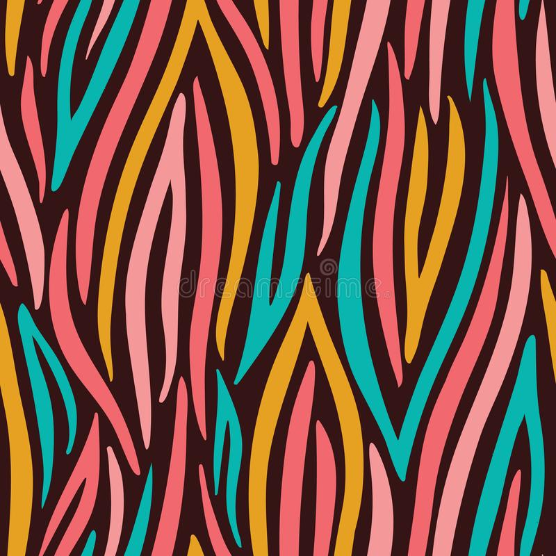 Kolorowa Abstrakcjonistyczna ręka Rysujący Falisty Wektorowy Bezszwowy wzór Zebry zwierz?ca sk?ra Modny moda druk royalty ilustracja