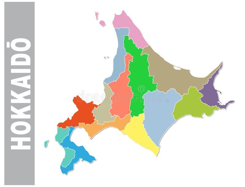 Kolorowa administracyjna i polityczna wektorowa mapa japoński prefektura hokkaido z flagą royalty ilustracja