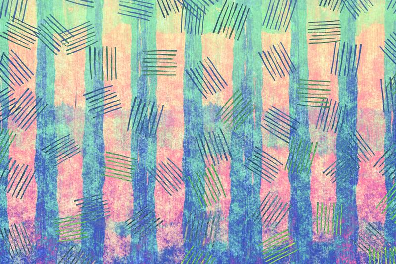 Kolorowa błękitnej i różowej papierowej tekstury grunge sztuki abstrakcjonistyczna suma obraz royalty free