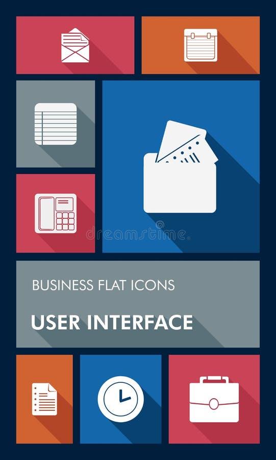 Kolorowa biznesu UI apps interfejsu użytkownika mieszkania ikona royalty ilustracja