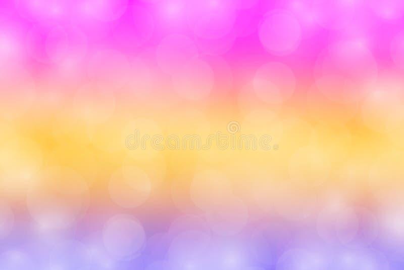 Kolorowa bokeh menchii purpura zaświeca gradient zamazującą miękką część, słodkiego koloru bokeh tapetowy kolorowy cień, tęcza ko fotografia stock