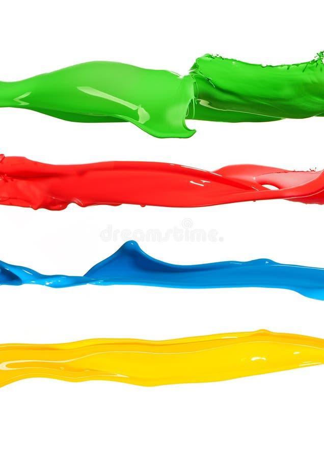 Kolorowa ciekła farba bryzga różnych kolory fotografia stock