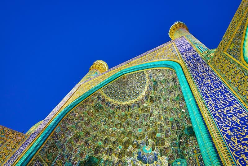 Kolorowa dekoracja Shah meczet w Isfahan, Iran obrazy stock