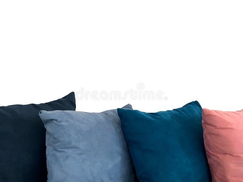 Kolorowa dekoracyjna odpoczynkowa poduszka na kanapie odizolowywającej na białym tle obrazy stock