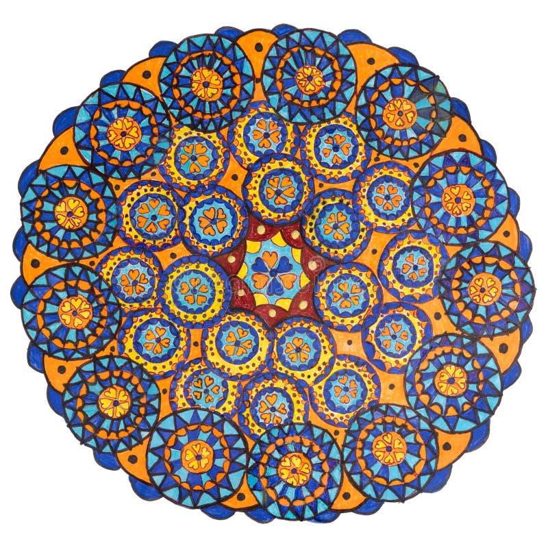 Kolorowa dekoracyjna ręka rysujący mandala wzór ilustracji