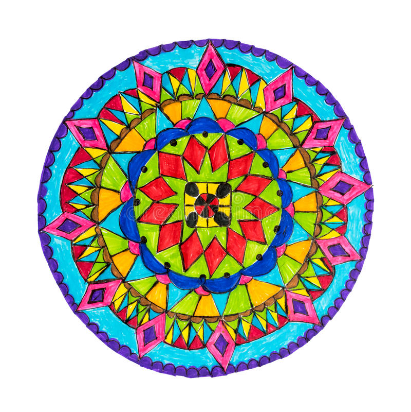 Kolorowa dekoracyjna ręka rysujący mandala wzór royalty ilustracja