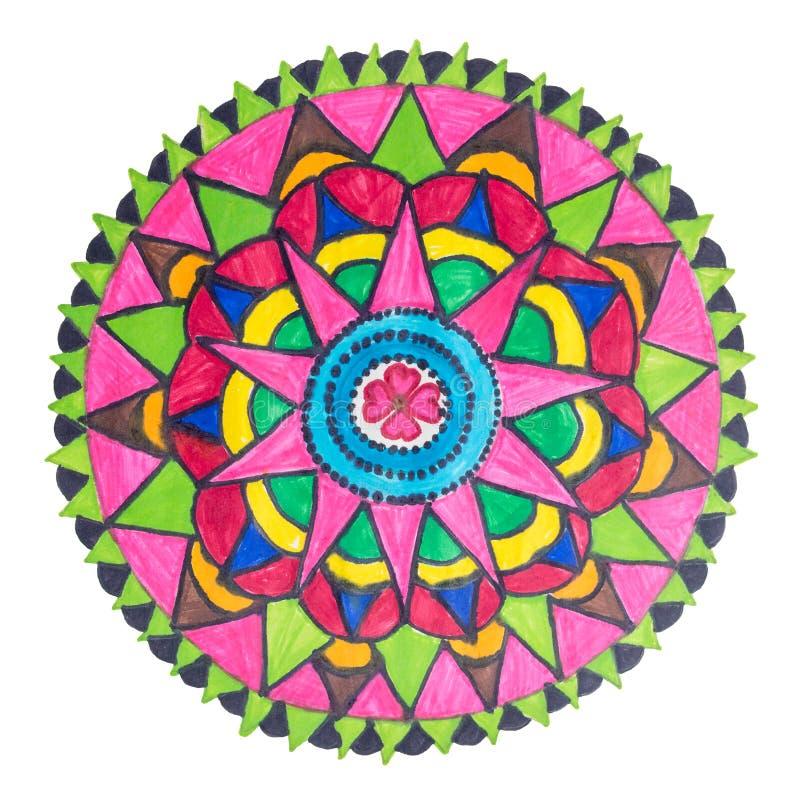 Kolorowa dekoracyjna ręka rysujący mandala wzór ilustracja wektor