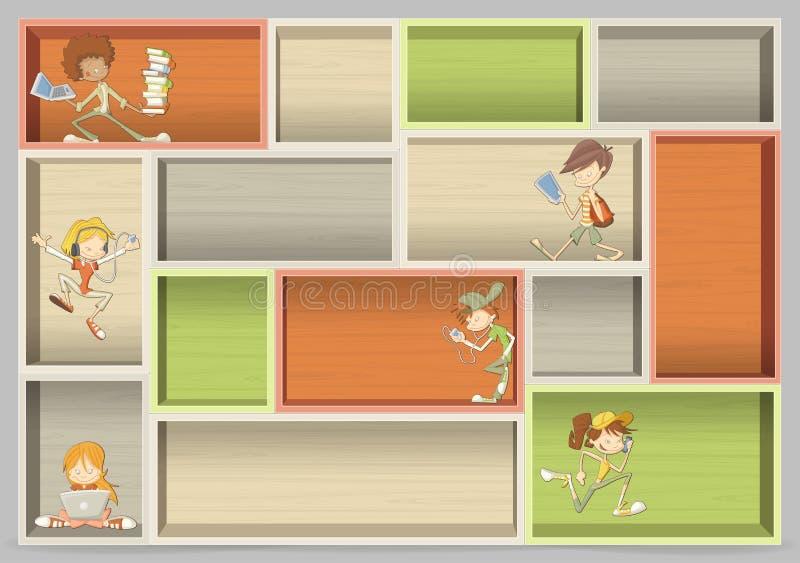 Kolorowa drewniana półka z kreskówka nastolatka uczniami ilustracji
