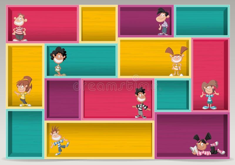 Kolorowa drewniana półka z szczęśliwymi kreskówek dziećmi ilustracji
