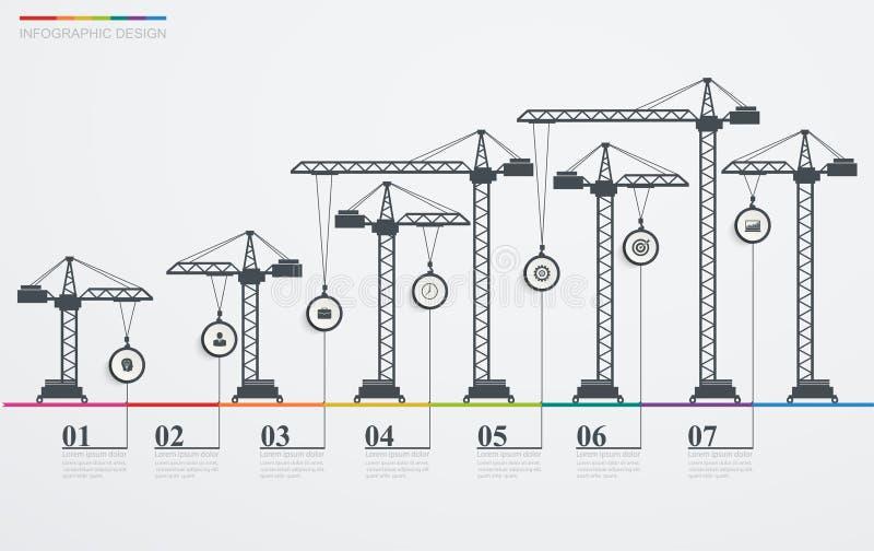 Kolorowa drogowa infographic linia czasu z ikonami royalty ilustracja