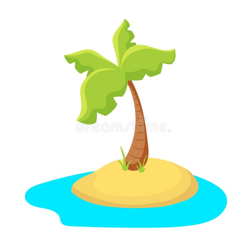 Kolorowa drzewko palmowe wyspa Tropikalna wyspa w morzu Palmowej wyspy kreskówki wektorowa ilustracja na białym tle ilustracja wektor