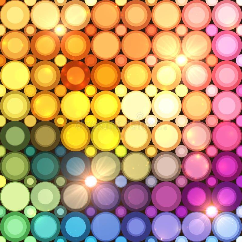 Kolorowa dyskoteka okrąża wektorowego abstrakcjonistycznego tło ilustracja wektor