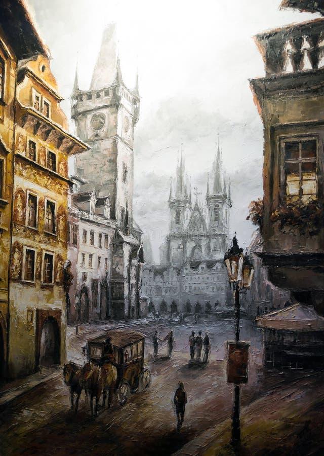 Kolorowa dziejowa Praga rocznika scena, uliczny sztuka obraz ilustracja wektor