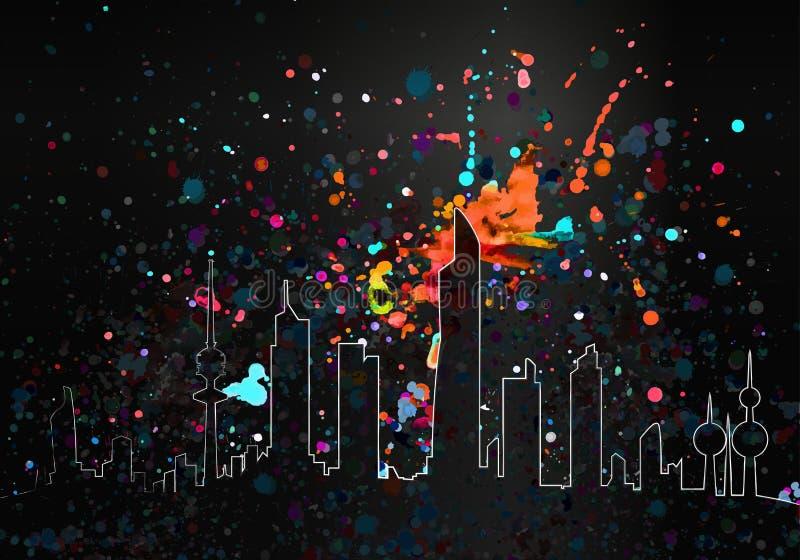 Kolorowa farba Opuszcza Artystyczną Kuwejt linię horyzontu ilustracja wektor