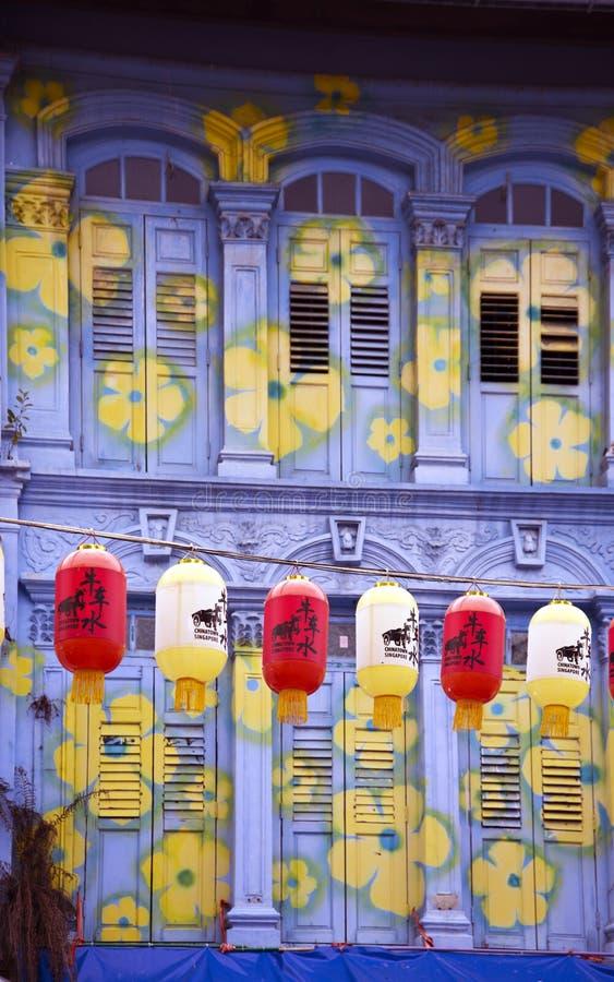 Kolorowa fasada w Chinatown, Singapur obrazy stock