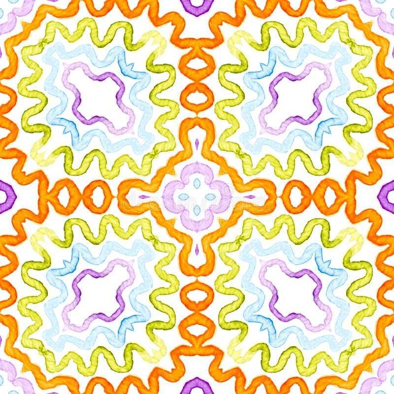 Kolorowa Geometryczna akwarela Olśniewać Bezszwowego wzór Ręka rysujący lampasy Szczotkarska tekstura emocja royalty ilustracja