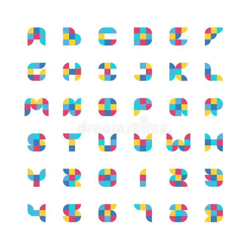 Kolorowa geometryczna płaska kolor cząsteczek chrzcielnica ilustracji