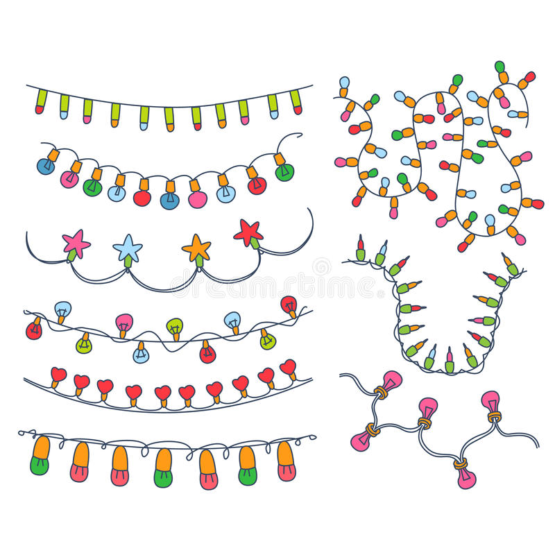 Kolorowa girland i żarówek wektoru ilustracja royalty ilustracja